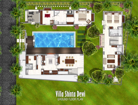 Bali 4 Bedroom Villa Plans Enchanting Shinta Dewi Luxury  Holiday Accommodation Large Floorplan Aiko Jimbaran Clifftop